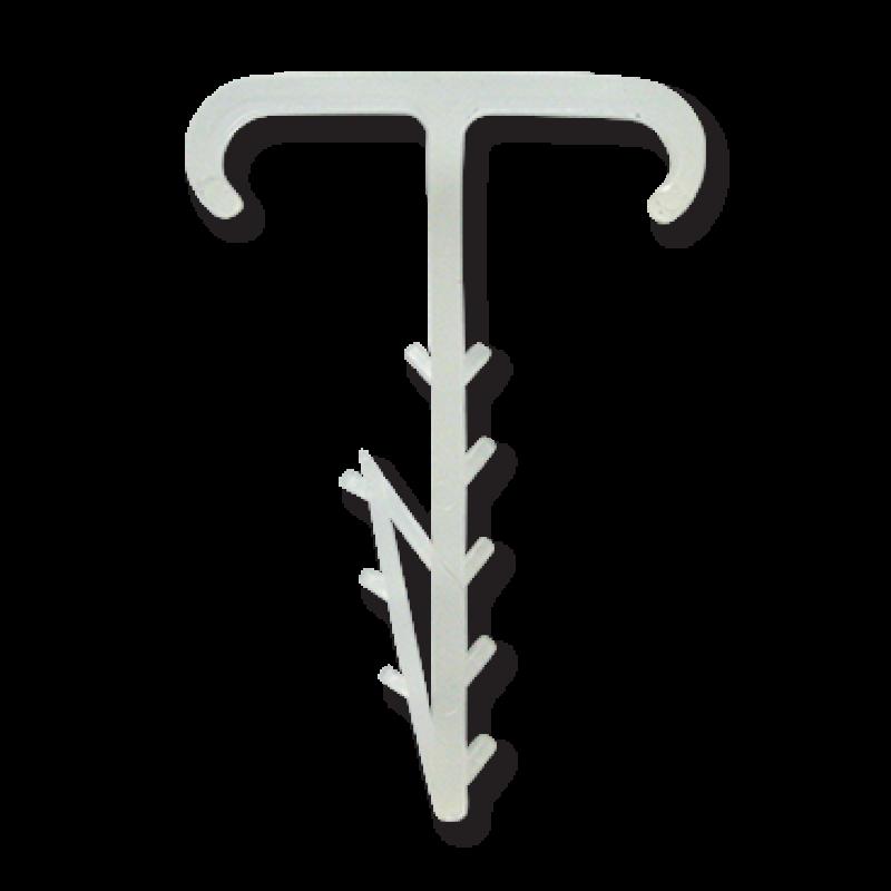 Крепеж плоский Т-образный двойной 2x12x5 белый