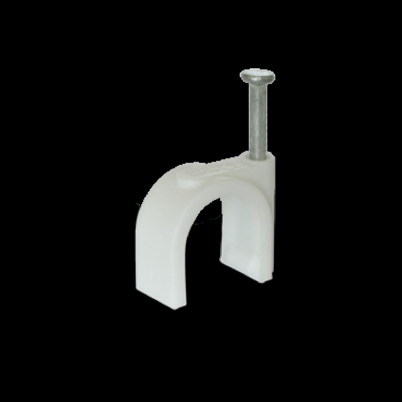 Скоба для круглого кабеля Ø12 белая