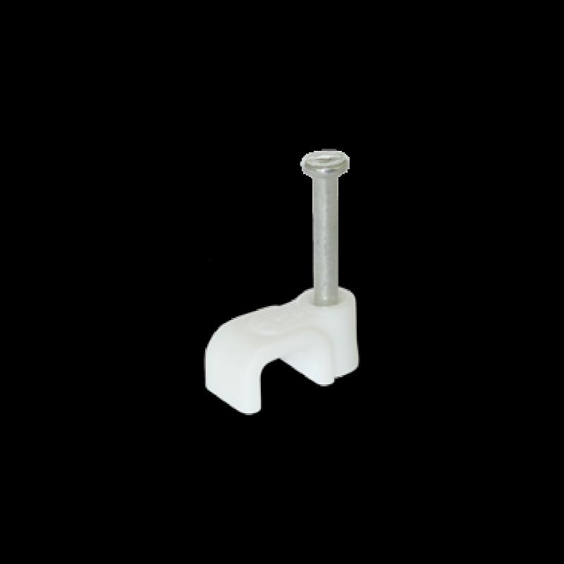 Скоба для плоского кабеля 6x4 белая